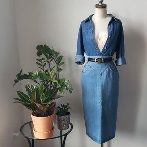 Vintage 80s Blue Denim Midi Pencil Skirt